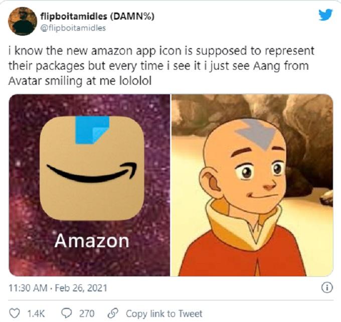 comparacion del icono de Amazon con Aang
