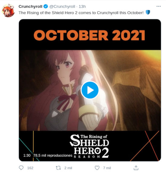 The Rising of The Shield Hero 2 tiene mes de estreno
