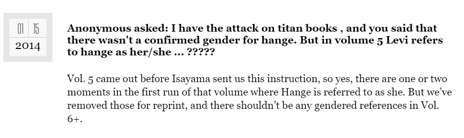 respuesta a dudas sobre el género de Hange en Shingeki no KYojin