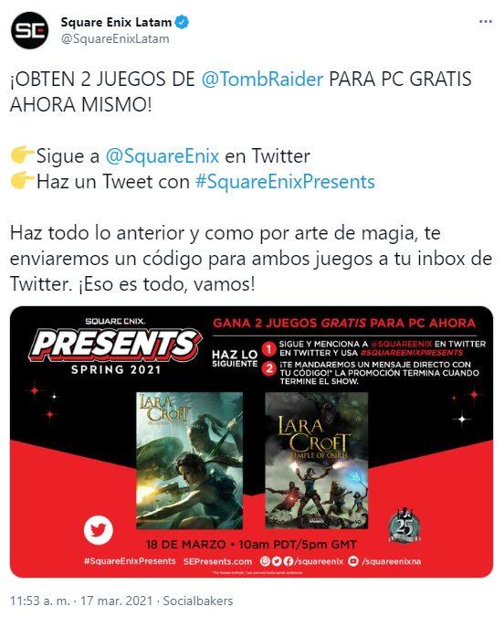 Square Enix compartió una nueva dinámica en Twitter para que te lleves a tu PC dos juegos gratis de Tomb Raider.