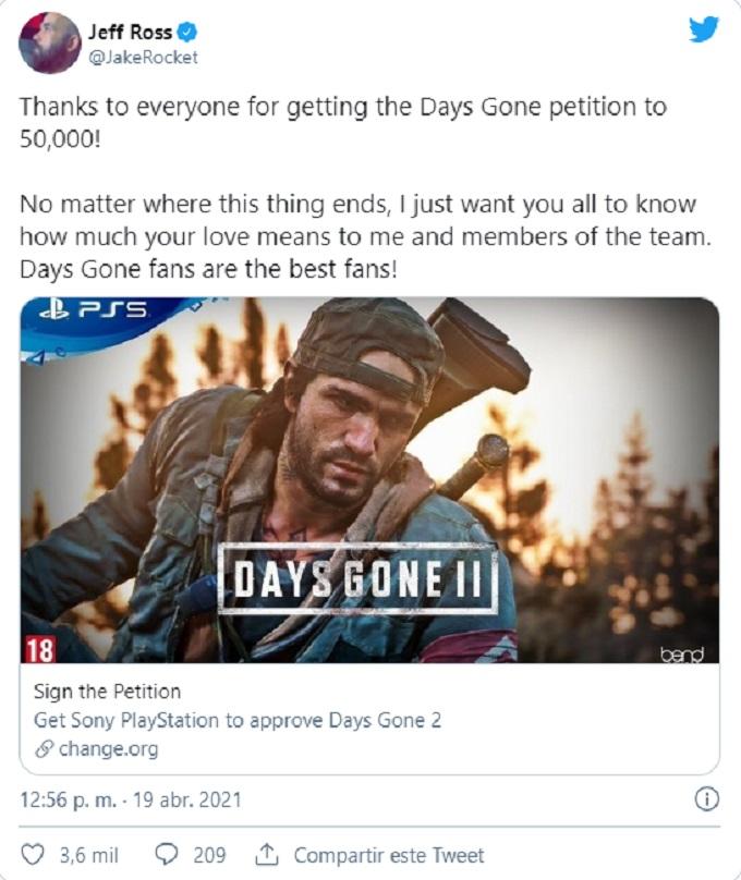 Days Gone Peticion