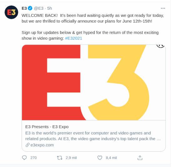 E3 2021 vuelve con apoyo de varias compañías