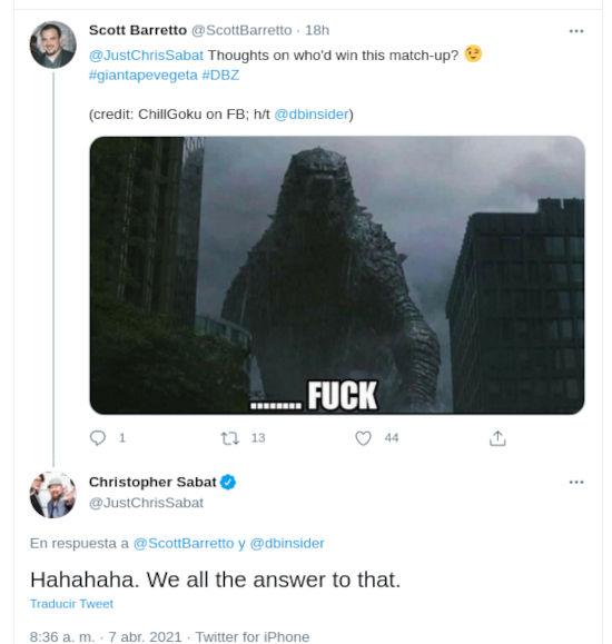 Godzilla contra Vegeta de Dragon Ball como simio gigante, un duelo injusto