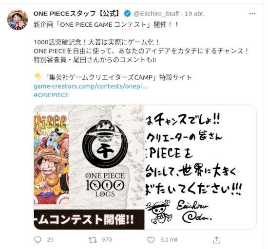 Inicia concurso de desarrollo de juegos de One Piece
