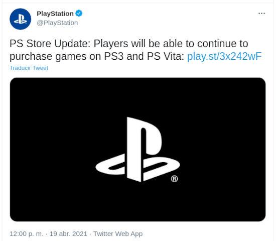 La tienda de PS3 y PS Vita no cerrará anuncia Sony