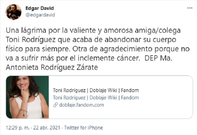 Causa muerte Toni Rodriguez
