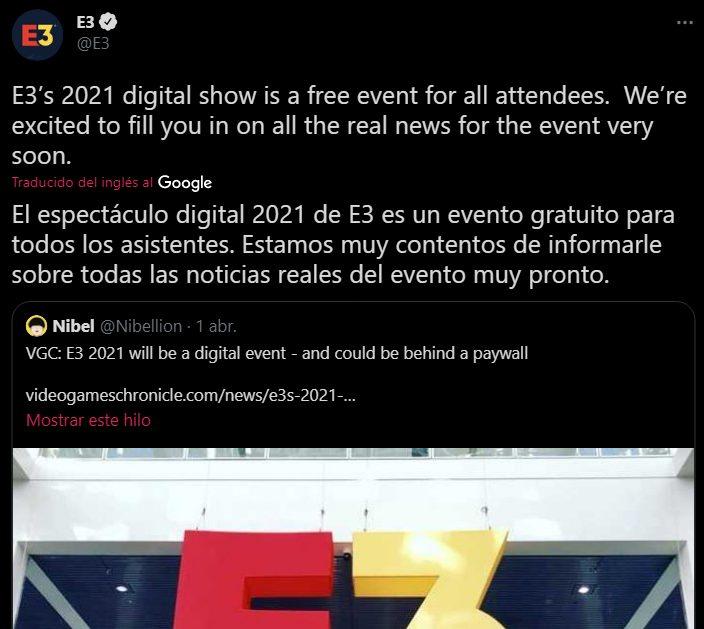 E3 2021 online gratis, tweet