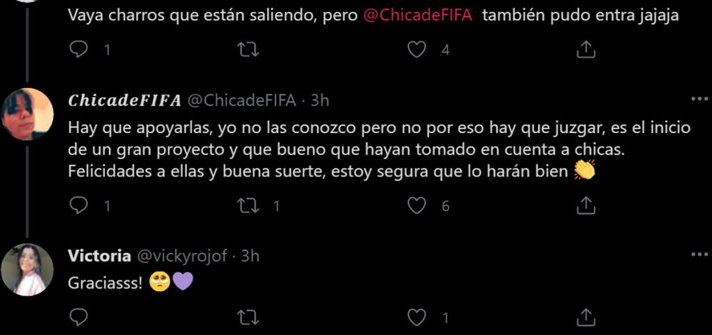 Tweet de apoyo a Viko Rojo y Guacchi videojugadoras por el Mazatlán FC