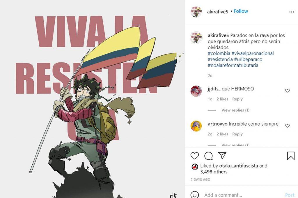 Deku de akirafvie5 protestas Colombia Medellín, Cali, Bogotá. Tierragamer