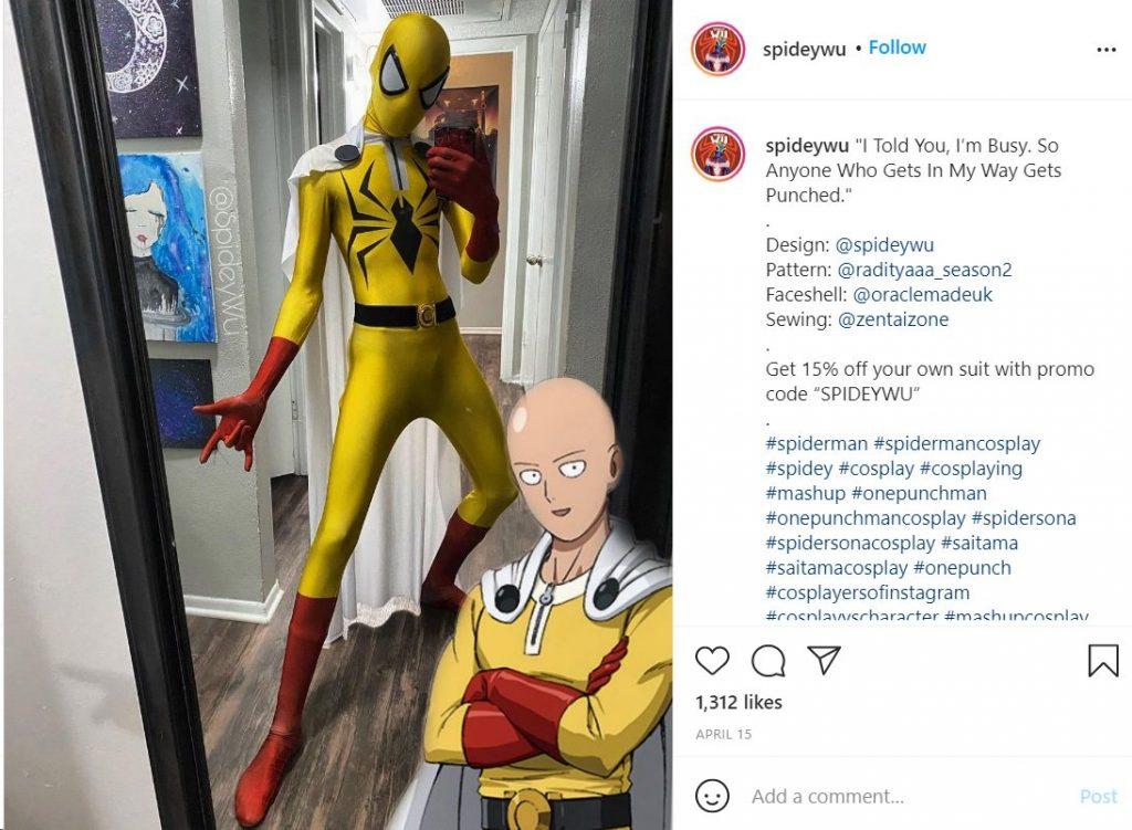 Spider-man cosplay one punch man spidey wu, tierragamer
