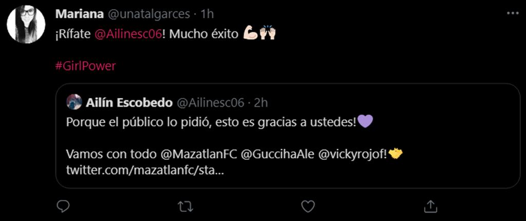 Ailinesc06 es fichada para el Mazatlán FC en la eliga MX