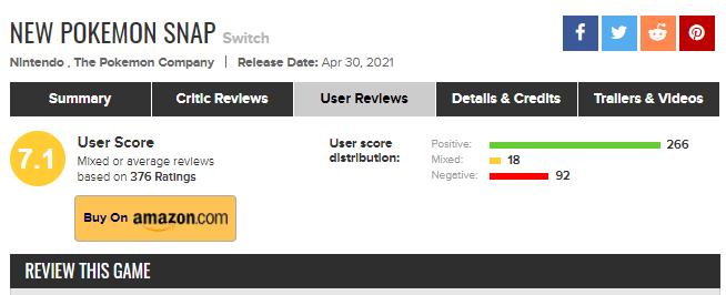 New Pokémon Snap Metacritic