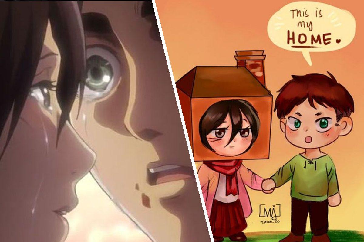 Shingeki no Kyojin: Divertido fanart de Eren y Mikasa muestra otro lado de su relación